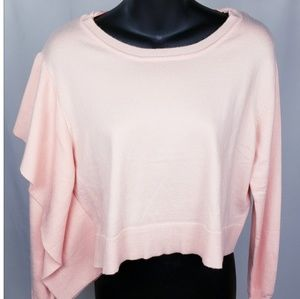 Zara knit soft crop sweater with side rufle detai